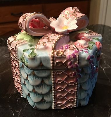 Fitz And Floyd Blue Decorative Lidded Box With Pink Bow And Flowers