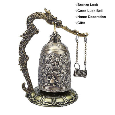 Home Decor Antique Style Buddhist Bell Vintage Bronze Lock Good Luck Bell