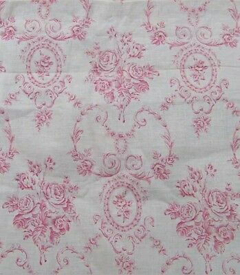 "ANTIQUE 19thC FRENCH CAMEO FLORAL ROCOCO COTTON TOILE FABRIC BTHY 18""Lx31""W"
