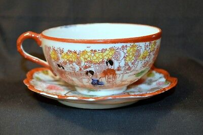 Antique, Vintage, Old Japan 1920S Geisha Girl Cup And Saucer