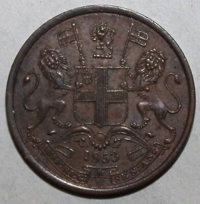 British East India Company 1/2 Pice Coin, 1853 - KM# 464 - One Half Co. Victoria