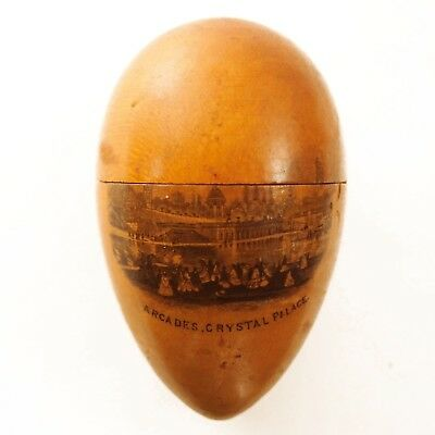 Antique Mauchline Ware Arcades Crystal Palace UK Sewing Egg
