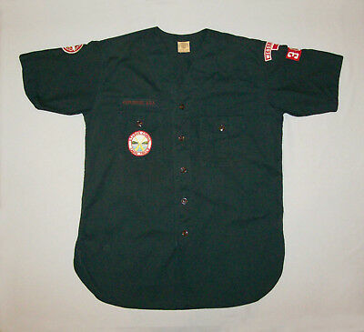 Old vtg ca 1960s Boy Scout Collarless Explorer Shirt Sanforized With Patches Ver