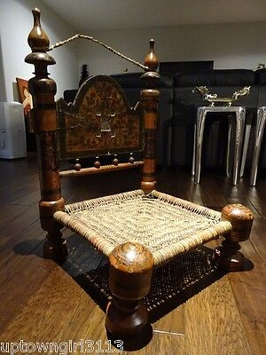 SWAT 1800s Tribal Indian TIBET? PRAYER CHAIR carved hand-painted HEAVEN on EARTH