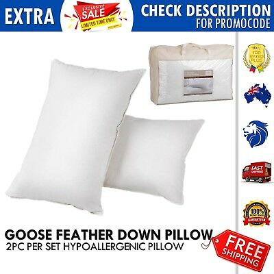 2x Goose Down Feather Pillows 5 Star Home Hotel Luxury Bedding 100% Cotton Cover