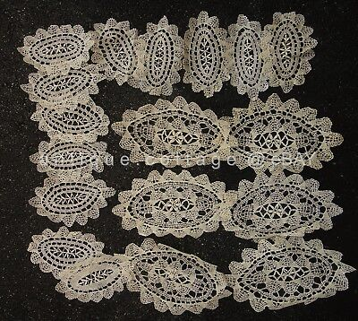 LOT antique 18pc HANDMADE BOBBIN LACE DOILIES ecru and white doiley vintage