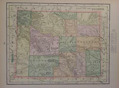 1899 Wyoming Antique Color Atlas Map**  Forts, Reserves, etc ..119 years-old!