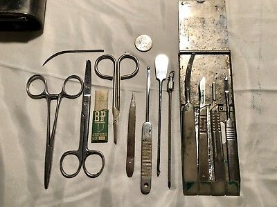 13 antique surgical instruments In Leather Travel Case
