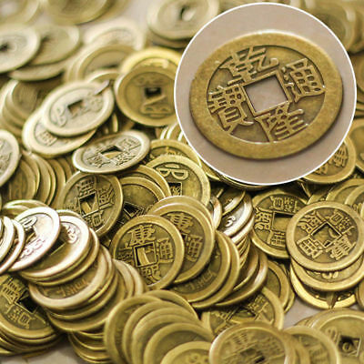 5Pcs Feng Shui China Old Coin Chinese Brass Coin Of Qianlong Luck Wealth Fortune