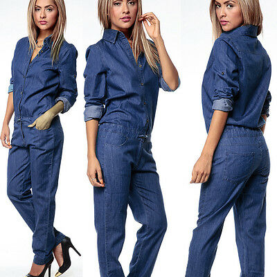 2018 Womens Button Long Sleeve Denim Playsuit Jumpsuit Jeans Trouser Overalls