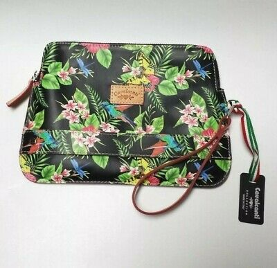 Cavalcanti Collection Floral Butterfly Black Libell Leather Clutch Wallet  Zip a1ad15226b338