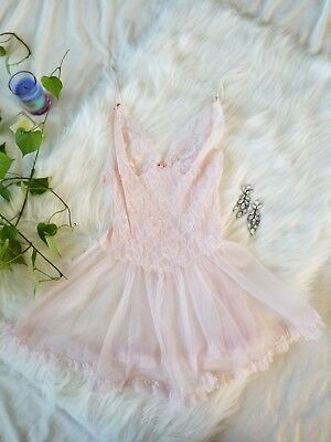 Womens Sz Small Vintage VTG Teddy Baby Pink Lingerie Ballerina Tutu Lace Sexy