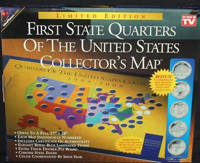 "First State Quarters of the US Collector's 17"" X 28"" Map 1999-2008 Edition NIB"