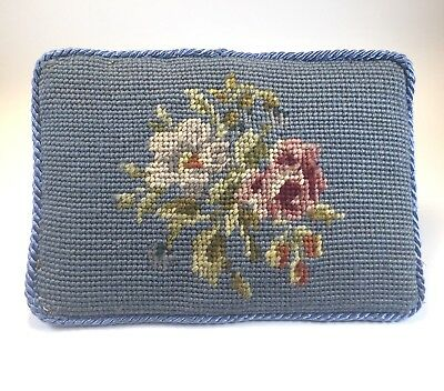 Vintage Floral Handmade Wooden Doorstop & Wool Needlepoint with Dovetail Joinery