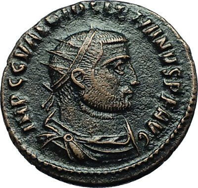 DIOCLETIAN Ancient 296AD Authentic Roman Antioch Coin w JUPITER VICTORY i66465