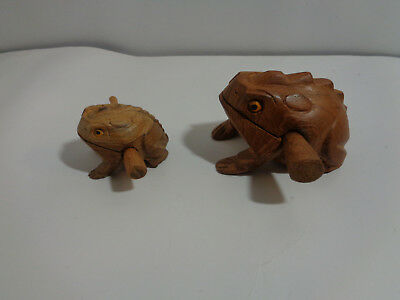 Lot of 2 Large & Small Hand-Carved-Wooden-Croaking-Frog-Makes Percussion Sound