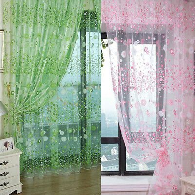 Floral Tulle Voile Door Window Curtain Drape Panel Sheer Room Scarf Valances US