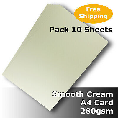 10 Sheets Cream Ivory A4 Card 280gsm Smooth Finish High Quality #H8408 #D1