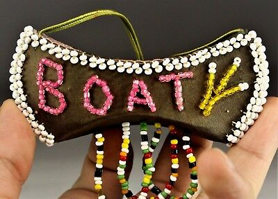 Antique Old Native American Iroquois Indian Beaded Boat Beadwork