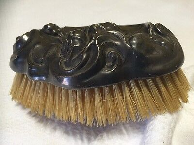 Antique Sterling Silver Repousee Art Nouveau Boars Hair Clothes Brush Roses