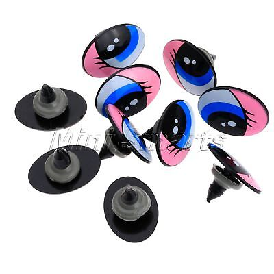 "10/50Pcs Cartoon Plastic Safety Eyes Oval for Toy Puppets Doll Making 1""x0.75"""