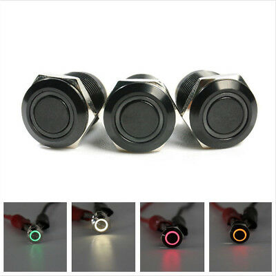 Black 12V 4 Pin 12mm Led Light Metal Push Button Momentary Switch Waterproof PL