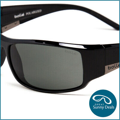 New Bolle Polarised KING Gloss Black Grey Sunglasses (10997) rrp$200