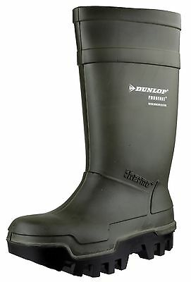 Dunlop Thermo Plus Full Safety -40c Mens Green Work Wellington Boots UK5-13