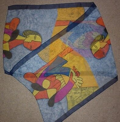 Vintage Picasso Motif  Polyester  Scarf Excellent Condition
