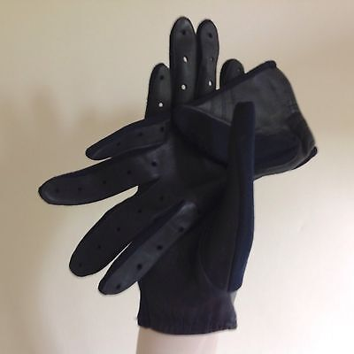Vintage 1960s Navy Blue Leather Palm & Fabric Back Evening Gloves Size 6.5