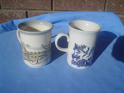 Biltons & Blue Willow Coffee Mugs Made In England