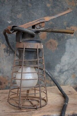 Vintage Industrial Gripper Lamp light old lighting wire cage bulb shade factory