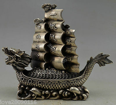 Collectible Decorated Old Handwork Silver Plate Copper Dragon Boat Safety Statue