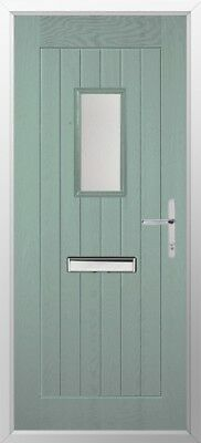 Truedor Composite Door Chartwell Green,Door knocker,Letterplate,Lever,Chrome