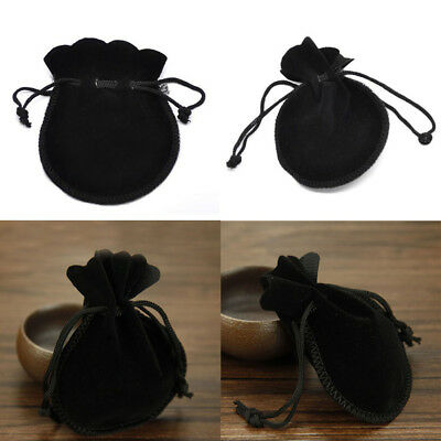 10Pcs Jewelry Bags Pouches Mini Velvet Drawstring Wedding Favor Bag Gifts Black