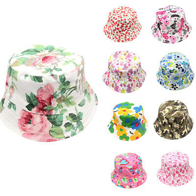 Fashion Toddler Baby Kids Boys Girls Floral Pattern Bucket Hats Sun Helmet Cap