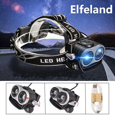 Elfeland 10000Lm 2x T6 LED Lampe Frontale Chasse USB Rechargeable Headlamp Torch