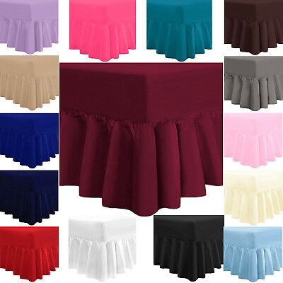 "Luxury Frilled Fitted Valance Sheets 16"" Single 4FT Small Double Super King Size"