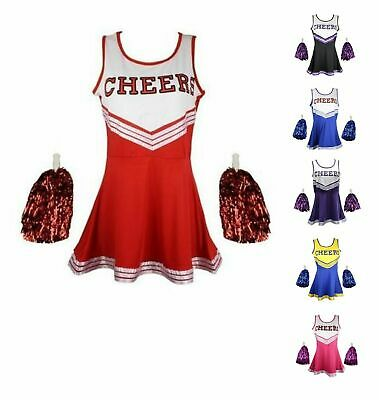 CHEERLEADER GIRL UNIFORM COSTUME OUTFIT With POM POMS FANCY DRESS.