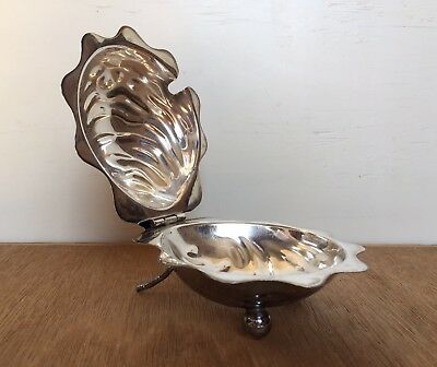 Vintage EPNS silver plated SCALLOP CLAM SHELL DISH for serving CAVIAR