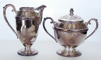 Signed Rogers Marquise Silver Plate Creamer and Sugar Art Deco VTG/Antique
