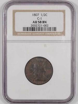 1807 Draped Bust Half Cent Ngc Au-58 Bn