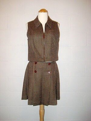 "Vtg 90s Wool Vest and School Girl Pleated Mini Skirt Made in Italy 30"" waist - S"