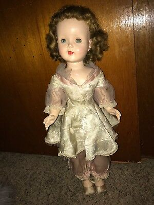 Madame Alexander 24 Inch Unmarked Composition Doll in Pink Satin Like Dress