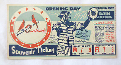1950 St Louis Cardinals Opening Day Baseball Ticket Sportsman's Park RARE