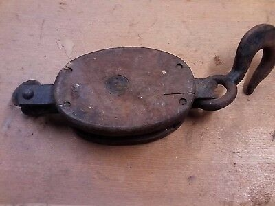 Vintage Wood Block and Cast Iron Single Block Pulley