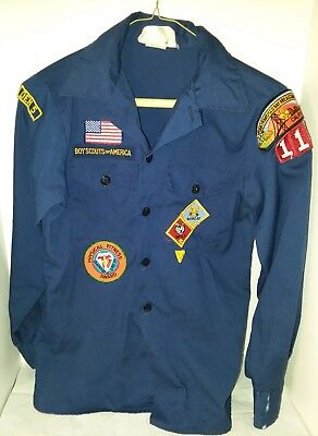 Vintage Boy Scouts of America Blue Long Sleeve Button Up Official Shirt