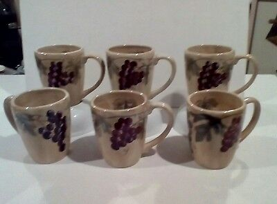 """Six Meritage By Noble Excellence Coffee Mugs 4 1/2"""" Tall Free Usa Shipping"""