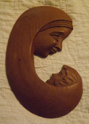 """Vintage Hand Carved Wooden WALL PLAQUE MADONNA AND CHILD Mother Baby 9"""" x 5"""""""