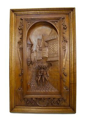 Fabulous French Antique Hand Carved Wood Wall Panel Paneling Middle Ages